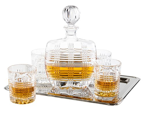 Fitz And Floyd 6-piece Bridgeport Crystal Whiskey Barware Set With Decanter And Double Old Fashioned Glasses With Nickel-plated Rectangular Tray