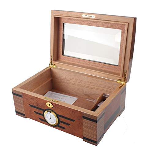 Portable cigar box Cigar Box,with Humidifier and Hygrometer Large Capacity Cigar Box Cigarette Case, Glass Cover, Professional Storage Cigar Seal Constant Temperature and Humidity, Double Layer, Can A by Ac498 (Image #2)