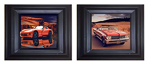 Framed Wall Decor 1964 Pontiac GTO and Red Hot Dodge Viper Classic Vintage Sports Car Black Framed Two Set Art Print Posters ()