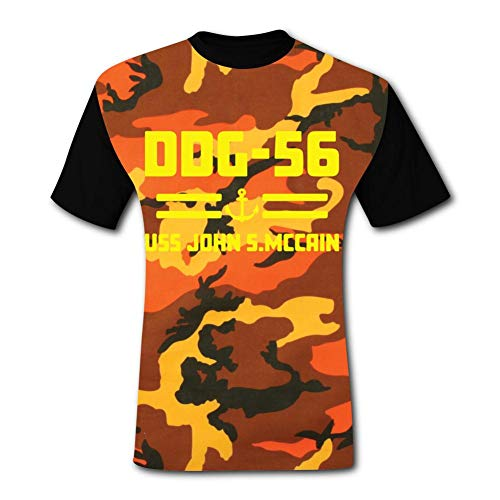 Casual Mens Tee | Fashion U-SS J-ohn S Mc-Cain DDG-56 Printed Short Sleeves Comfortable Funny T Shirt Black -