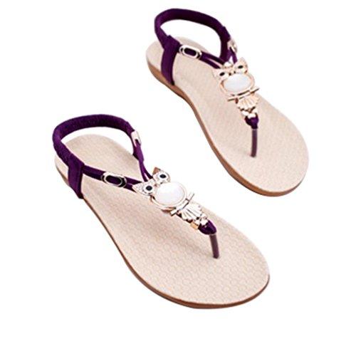 Purple Noble Tongs Beach Confort élastique Bohémiens Summer Mignonnes String Mode la Sandales Femmes Plates de étincelante aS6Bwqan