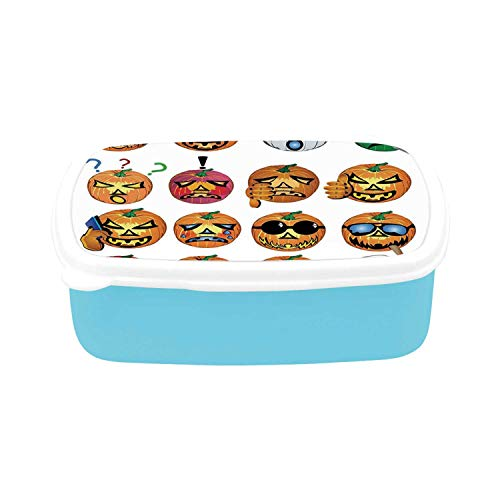 Halloween Decorations Simple Plastic Lunch Containers,Carved Pumpkin with Emoji Faces Halloween Humor Hipster Monsters Art for home,7.09