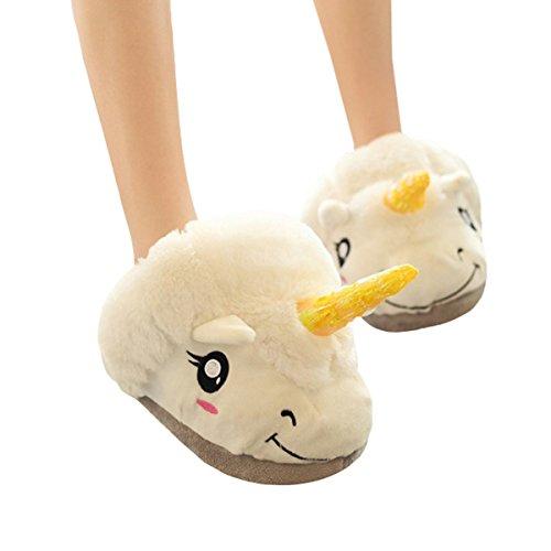 Casa Women Girls Unicorn Slipper Winter Plush Indoor Shoes Warm Cartoon Onesize Footwear Animal Slippers European Sizes 35 - 42 White q15F8uw8F