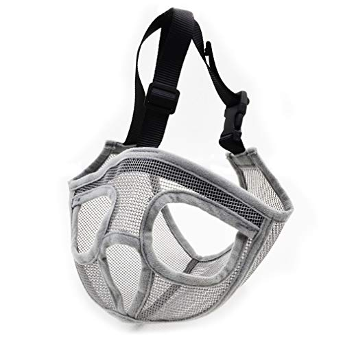 (GUXL Short Snout Dog Muzzles - Full Breathable Mesh Mask - Adjustable for Biting Chewing Barking Training Bulldog)