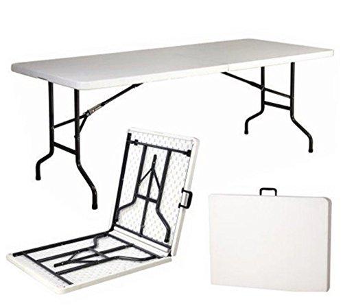 Mesa plegable de resina dura de 240 x 76 x 74 (altura) cm, para fiestas, acampada o para casa.