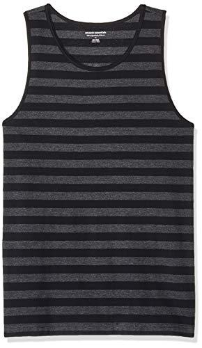 Amazon Essentials Men's Slim-Fit Ringer Tank Top, Black/Charcoal Heather Stripe, Medium