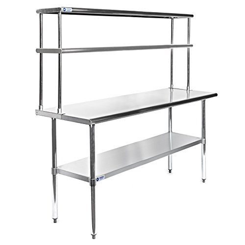 GRIDMANN NSF Stainless Steel Commercial Kitchen Prep & Work Table Plus A 2 Tier Shelf - 60 in. x 12 ()