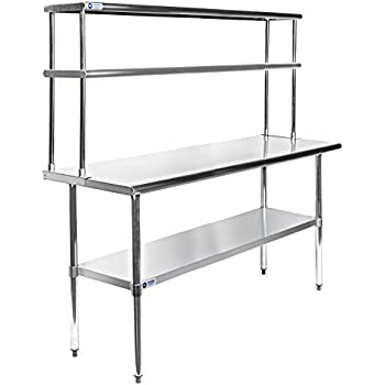 gridmann stainless steel commercial kitchen prep work table w backsplash bench this item p