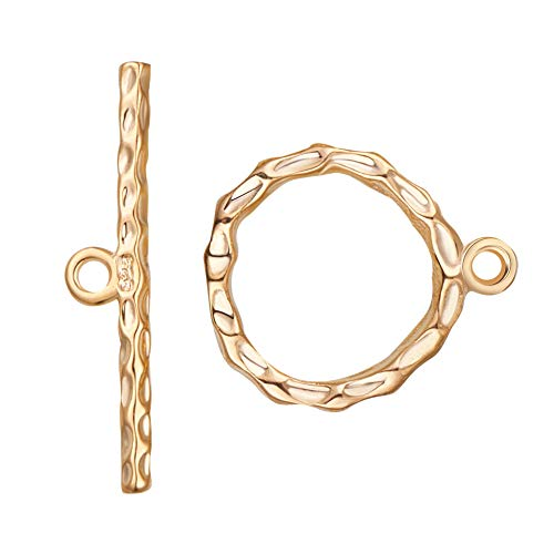 BENECREAT 10 Sets 18K Gold Plated Toggle Clasp Connectors for Necklace Bracelet Jewelry Making - Twisted Round, aboout 18x15mm