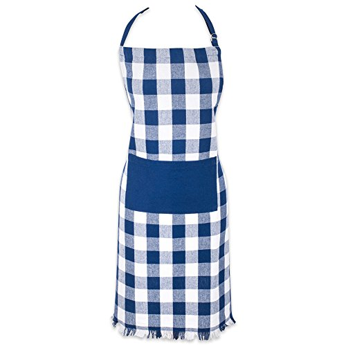 Apron Cotton Adjustable (DII Cotton Adjustable Check Plaid Chef Apron with Pocket and Extra Long Ties, Heavyweight Woven Men and Women Fringed Kitchen Apron for Cooking, Baking and BBQ-Navy Blue)