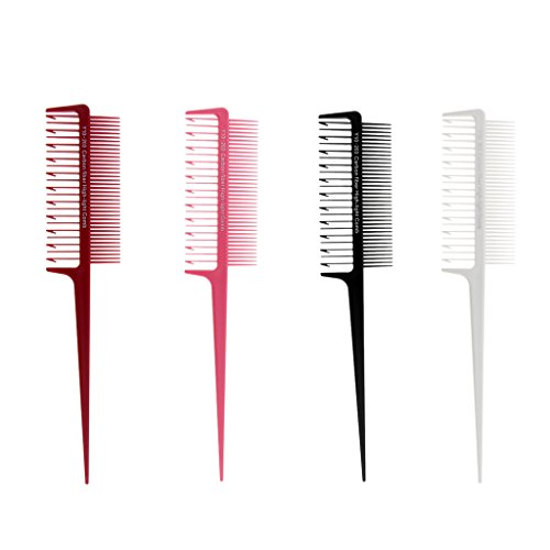 Homyl 4pcs 2 Way Professional Hair Combs for Women Styling, Hair Combs Carbon Fiber,Weaving Combs for Highlighting,Coloring by Homyl