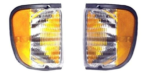 Go-Parts PAIR/SET - Compatible 2003 Ford E-350 Club Wagon Parking Lights Assemblies/Lens Cover - Left & Right (Driver & Passenger) Side Replacement For Ford E-350 Club (Ford Club Wagon Parts)