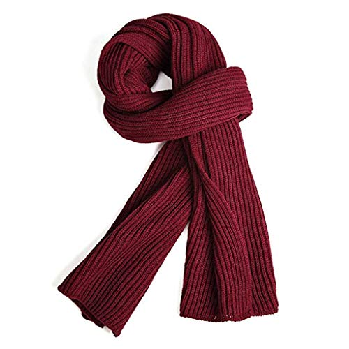 Warm Autumn and Winter Scarf,EONPOW Unisex Pure Color Winter Neck Warm Knitting Yarn Scarf (RED)