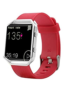 est Fitbit Blaze Band, BeneStellar Silicone Replacement Small Large Band Bracelet Strap for Fitbit Blaze Smart Fitness Watch, Red, Large