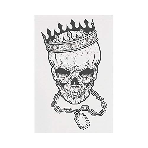 Polyester Garden Flag Outdoor Flag House Flag Banner,King,Sketchy Skull with Crown Hip Hop Street Style Necklace Chain Gem Image Print Decorative,Black and White,for Wedding Anniversary Home Outdoor G ()