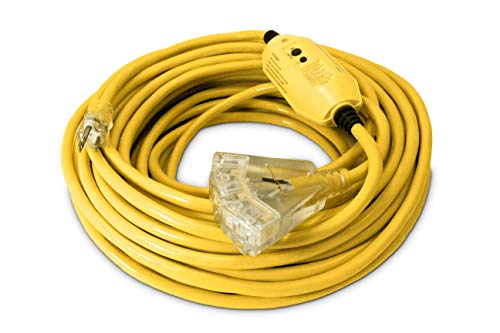 100-ft GFCI 12/3 Heavy Duty 3-Outlet SJTW Indoor/Outdoor Extension Cord by Watt's Wire - Long Yellow 100' 12-Gauge Grounded 15-Amp Three-Prong GFI Power-Cord (100 foot 12-Awg GFCI)