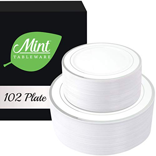 102 Set Silver Disposable Plastic Plates - Fancy High End Heavyweight Party Dinnerware   Be The Best & Impress Your Guests   51 Dinner Plates 10.25in - 51 Salad/Dessert Plates 7.5in