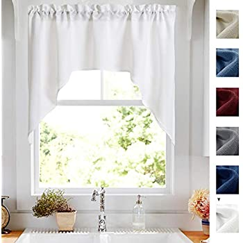 White Swag Valance Semi Sheer Short Curtains Kitchen Casual Weave Cafe Curtains Half Window Treatments 1 Panel 38