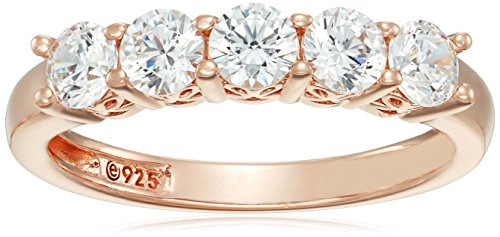 (Rose-Gold-Plated Sterling Silver Round-Cut 5-Stone Ring made with Swarovski Zirconia (1.25 cttw), Size 8)