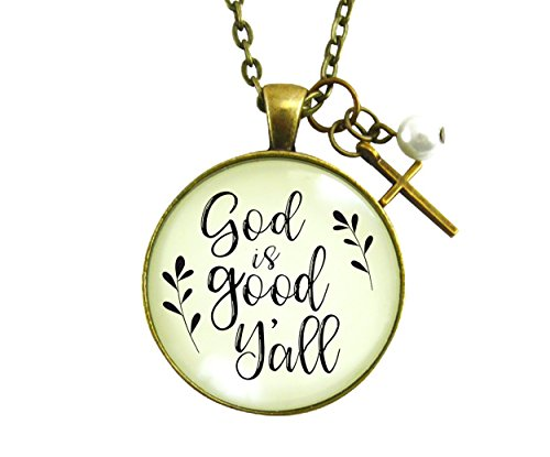 """24"""" God is Good Y'all Country Style Necklace Faith Jewelry For Women Bronze Cross Pendant"""