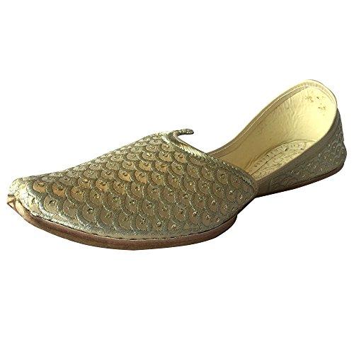 Étape N Style Hommes Punjabi Jutti Sherwani Chaussures Crème Or Zari Chaussures Designer Mocassins Chaussures Ethniques Crème Or