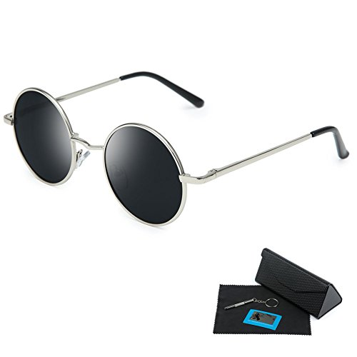 Shushu Jacob Unisex Polarized Sunglasses UV400 Protection 60s Style Round Metal - Gray Lenses Silver Frame