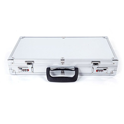 45x25x7.5cm Aluminum New Framed Locking Gun Pistol HandGun Lock Box Hard Storage Carry Case Silver ()
