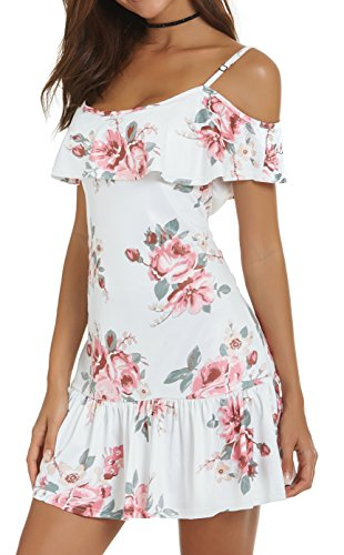 AM White CLOTHES Shoulder Beach Cold for Dresses Mini Floral Size Plus Strap Spaghetti Summer Womens BqWrwqgH