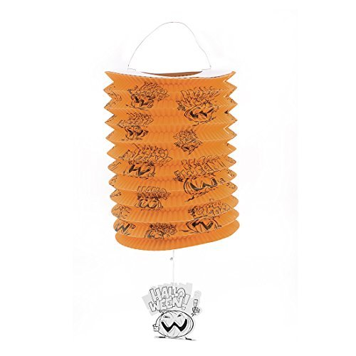 DealMux Halloween Ghost Print Paper Folded Hanging Lantern Decoration Orange]()