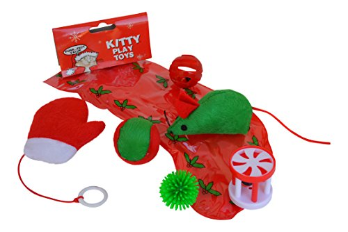 Christmas Holiday Cat Toy Stocking Gift Set with Mouse Toy
