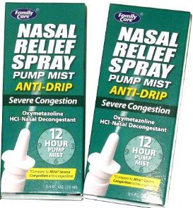 Nasal Relief Spray,pump Mist,anti-drip, Severe Congestion, (Oxymetazoline Hci) 12 Hour, 2 Pack.