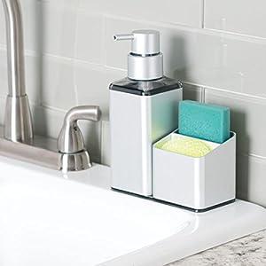 mDesign Rustproof Aluminum Soap Dispenser Pump and Sponge Caddy Organizer for Kitchen Countertops - Square, Silver