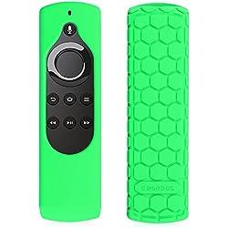 Fintie CaseBot Silicone Case for Amazon Fire TV Stick Voice Remote, Compatible with Amazon Echo / Echo Dot Alexa Voice Remote - Honey Comb Series [Anti Slip] Shock Proof Cover, Green-Glow in the Dark