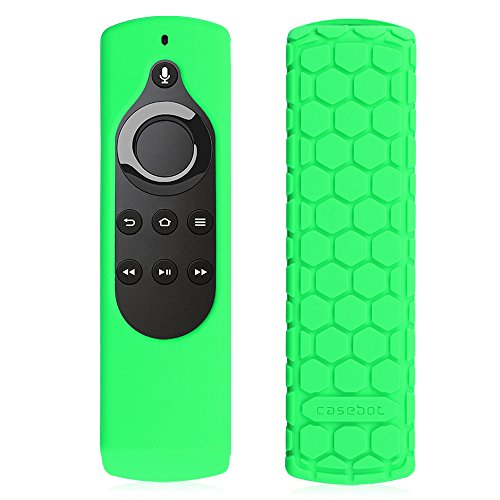 Fintie Silicone Case for All-New Fire TV 4K / 2nd Gen Fire TV Stick Voice Remote, Compatible with Amazon Echo / Echo Dot Alexa Voice Remote - Honey Comb Series [Anti Slip] Shockproof Cover, Green-Glow