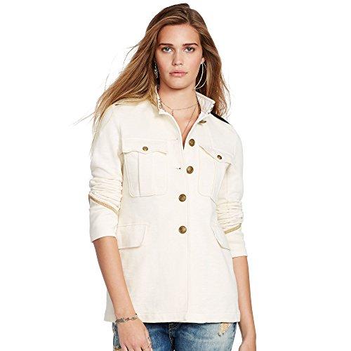 Denim & Supply Ralph Lauren Womens Metallic Trim Military Jacket Ivory M (Pleated Denim Jacket)