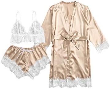 Womens Casual Sleepwear 3pcs Floral Lace Trim Satin Cami Pajama Set with Robe