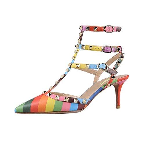 a21894e1b9d6 VOCOSI Women s Rivets Buckle Studded T-Strap Pointed-Toe Kitten Heels  Fashion Sandals