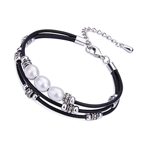 Cultured Freshwater Pearl Bracelet White Beads on Multi-strand Black Genuine Leather Cord Bangle DIY Charm Wrap Bracelet Handmade Beaded Jewelry for Women Girls (Genuine Multi Strand)