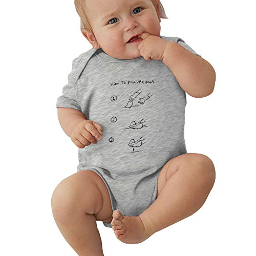 Dejup Unisex Baby Short Sleeve Bodysuits How to Pick Up Chicks Funny Summer Boys Girls Onesies Gray -