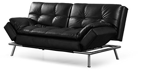 Lifestyle Solutions CAMDMS3L10BK-B Matrix 79.5″ Double Cushion 3 Seater Convertible Sofa with Faux Leather Upholstery in