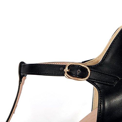 Amoonyfashion Womens Peep Toe Hoge Hakken Stevige Gesp Sandalen Zwart