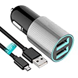 """Fast Car Charger Compatible Asus ZenFone 5Q ZC600KL 6"""" and More, JULAM 3.1A Dual USB Port Rapid Car Charger with LED Indicator Light (Gray Charger Adapter + 3.3ft Micro USB Cable)"""