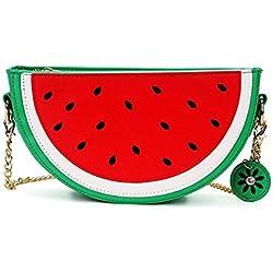 Small Crossbody Bag Cute Cartoon Purse Pineapple/Watermelon/Lemon/Pear Fruit Shape Shoulder Bag PU leather Handbag Clutch for Womens Girls (Watermelon(semicircle))