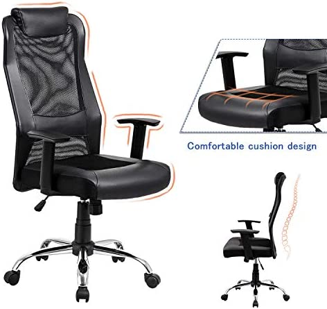 Mesh Office Chair High Back Padded Leather Headrest Design of Computer Desk Chair with Adjustable Armrest and Lumbar Support Black