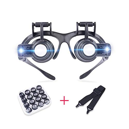 SCJS Glasses-Mounted Timepiece Repair Magnifying Glass, with led Light Double-Eye mask Magnifying Glass, Stamp Identification 8 Sets of high-Definition Magnification Lens Magnifier L++