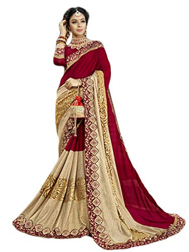 (Mirraw Red Embroidered Georgette Saree with Unstitched Blouse for Women's)