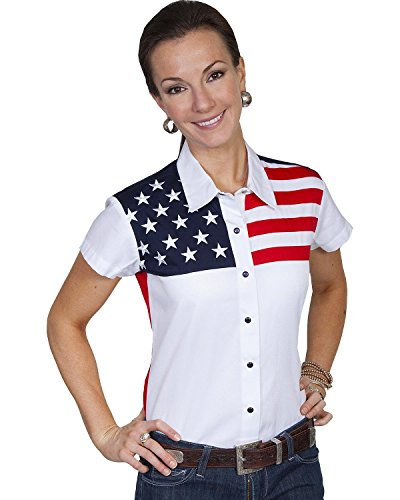 Scully Women's American Flag Print Top White X-Large