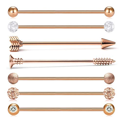 MODRSA 14G Industrial Barbell Earring Set Surgical Stainless Steel Cartilage Body Piercing Jewelry Industrial Piercing Bar for Women Men 1 1/2 Inch 38mm Rose Gold (Barbell Body Jewelry 14g Earrings)