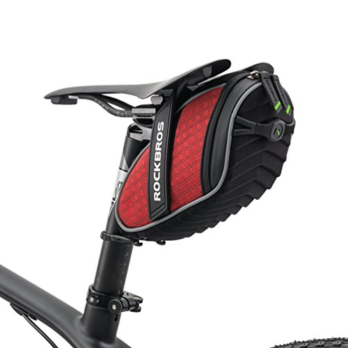 RockBros Bicycle 3D Shell Saddle Bag Cycling Seat Pack for Mountain Road Bike Black Red (Bike Saddle Bag Clip)