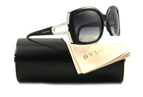 23bd2f06fbb Bulgari Sunglasses BV 8057B - 501 8G Black and Silver w. Swarovski Crystal  (Grey Gradient Lens) - 58mm  Amazon.co.uk  Clothing